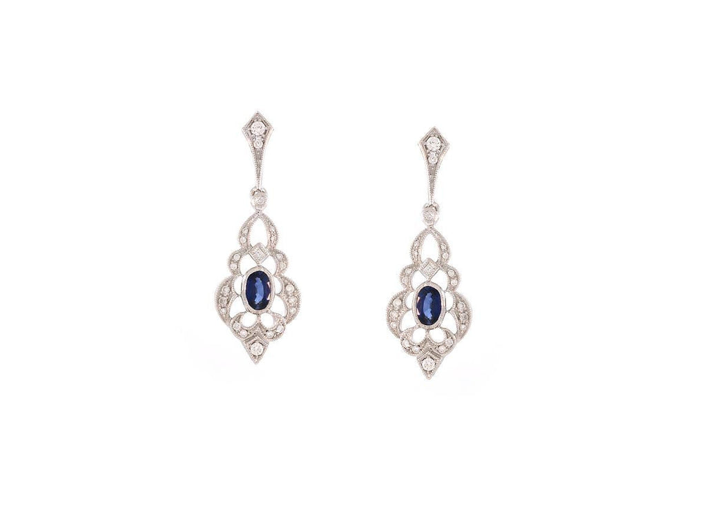 Antique Sapphire and Diamond Drop Earrings