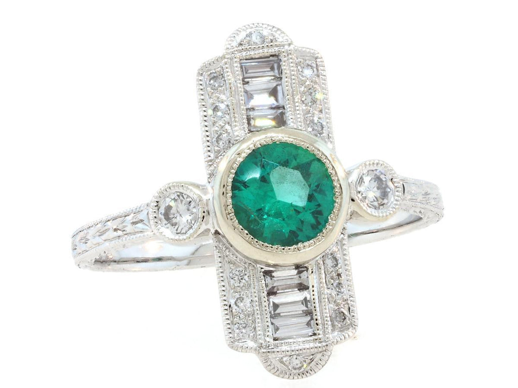 Deco Emerald and Diamond Baguette Ring