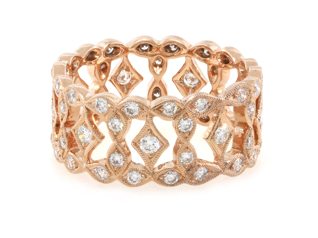 Wide Marquise Diamond Rose Gold Band