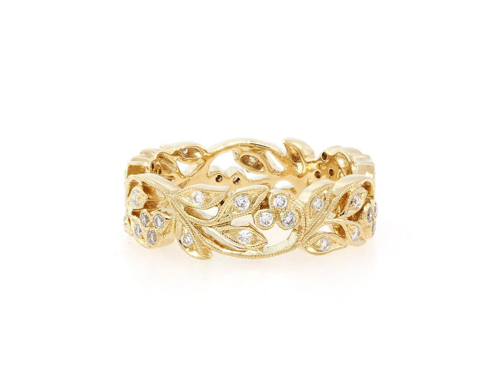 Wide Gold and Diamond Floral Band