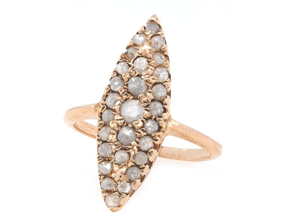 Grey Diamond Rose Gold Navette Ring