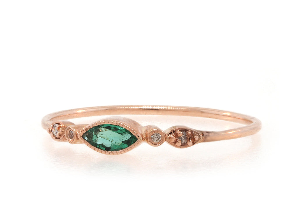 Marquise Emerald & Diamond Ring