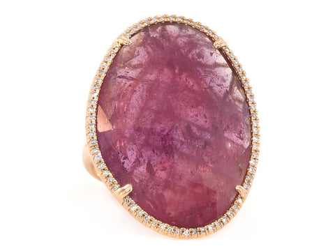 Asymmetrical Pink Sapphire and Pave Statement Ring
