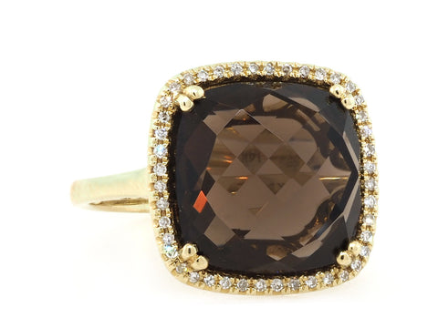 Cushion Smoky Quartz and Pave Ring
