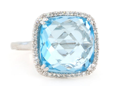 Cushion Blue Topaz and Pave Diamond Ring
