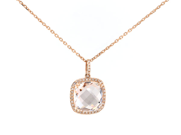 Cushion Quartz Rose Gold and Diamond Necklace