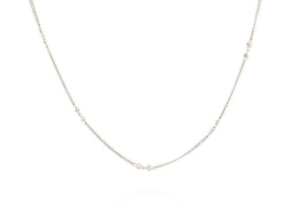 Double Chain Diamond Station Necklace