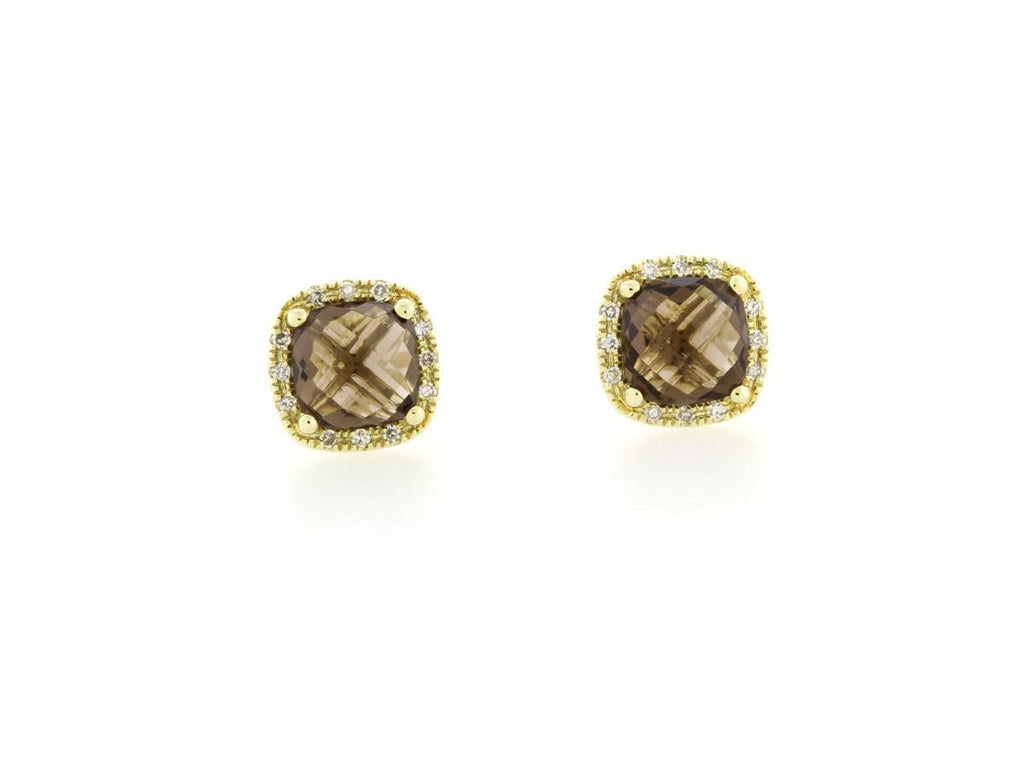 Smoky Topaz Diamond Halo Stud Earrings