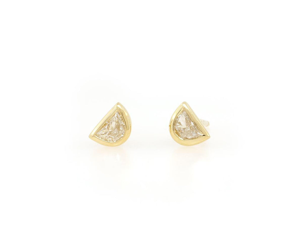 Diamond Half Moon Stud Earrings