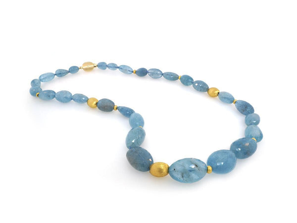 Faceted Aquamarine Bead Necklace