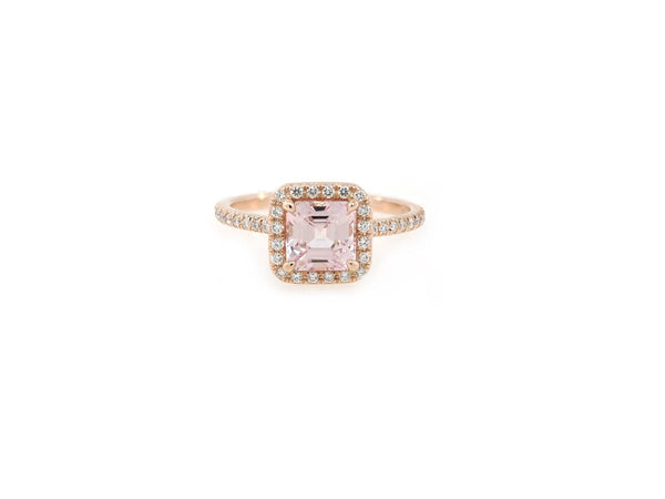 1.57ct Asscher Cut Peach Sapphire 'Goddess' Halo Ring