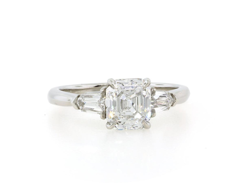 1.32ct Asscher Cut Diamond 3 Stone Ring