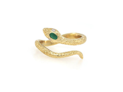 Gold Engraved Emerald Snake Ring