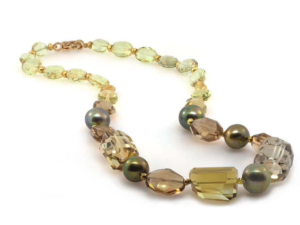 Yellow and Smokey Quartz Mixed Beaded Necklace