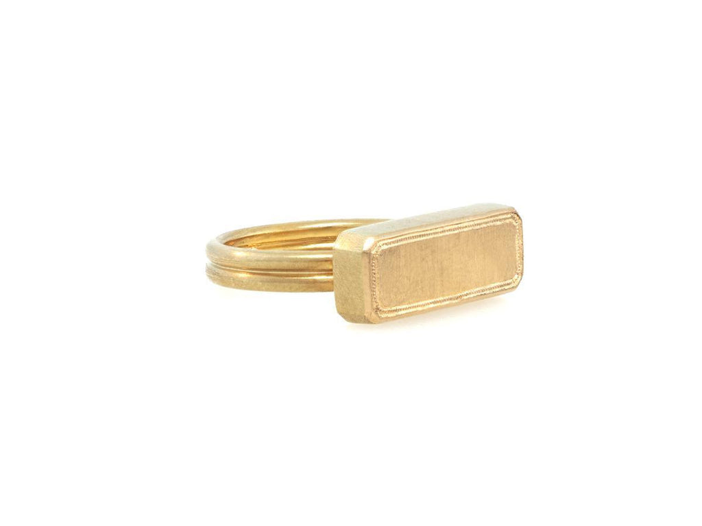Bullion Bar Gold Signet Ring