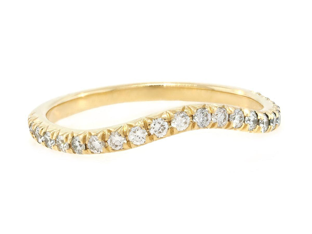 Curved Pave Diamond Yellow Gold Band