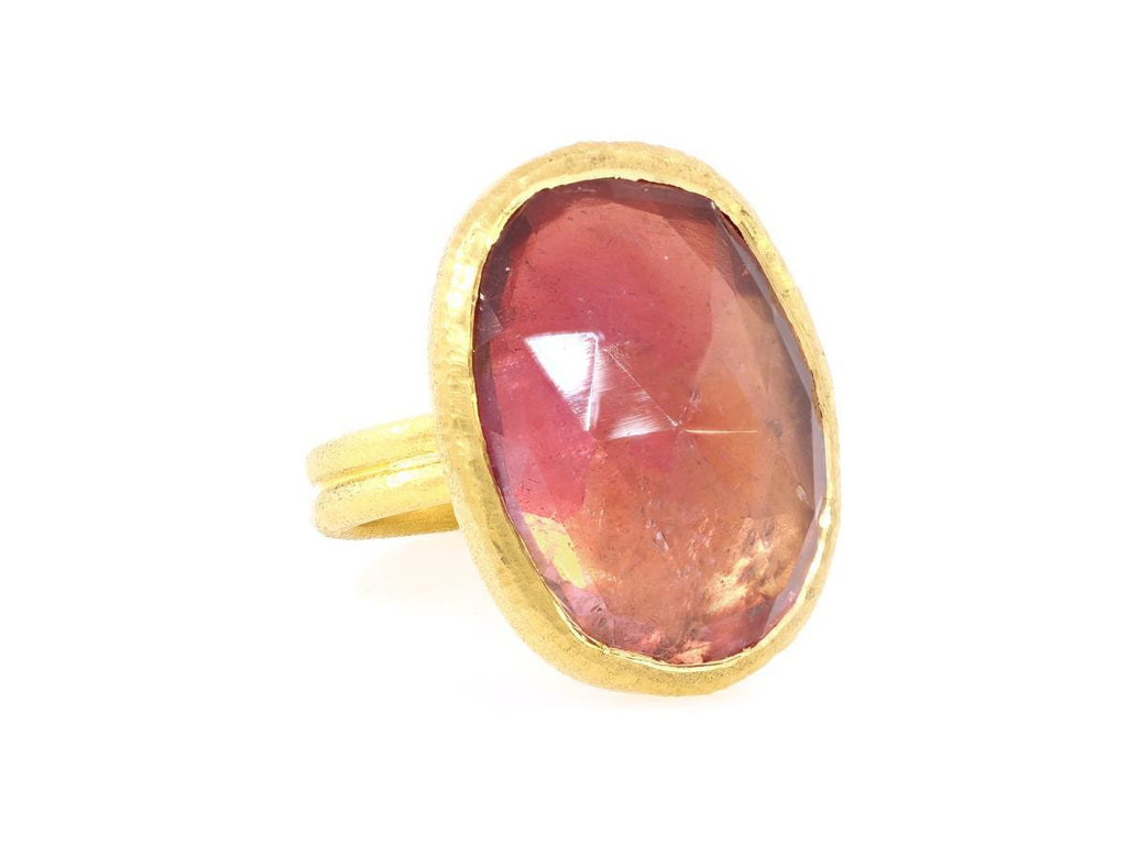 Oval Tourmaline Gold Statement Ring