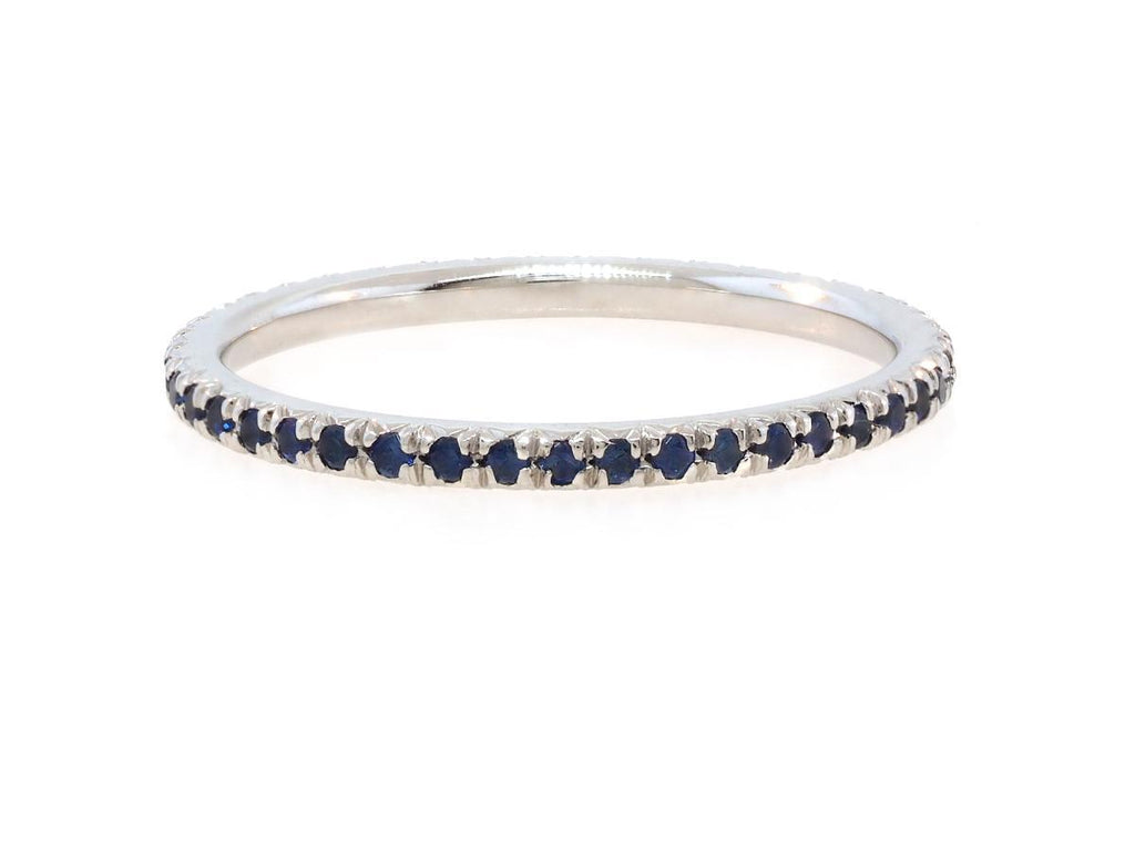 French Pave Blue Sapphire Eternity Band