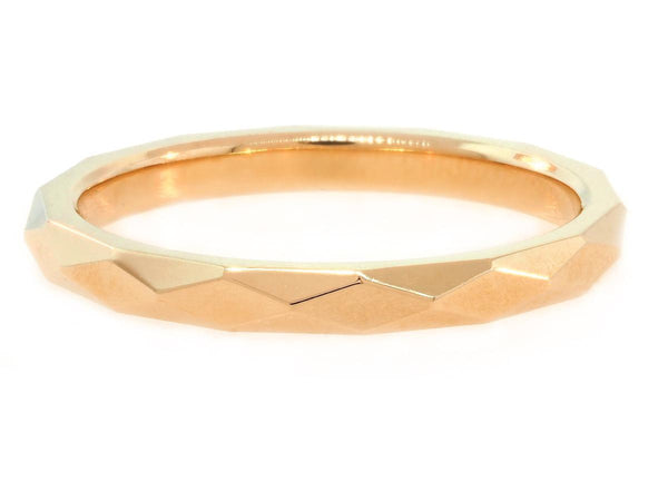 Wide Rose Gold Faceted Spectra Band