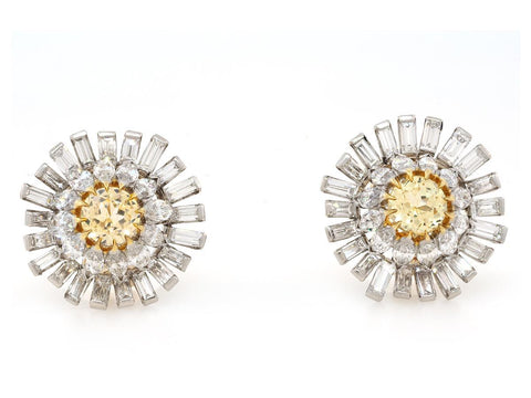 Antique Baguette Diamond Flower Earrings
