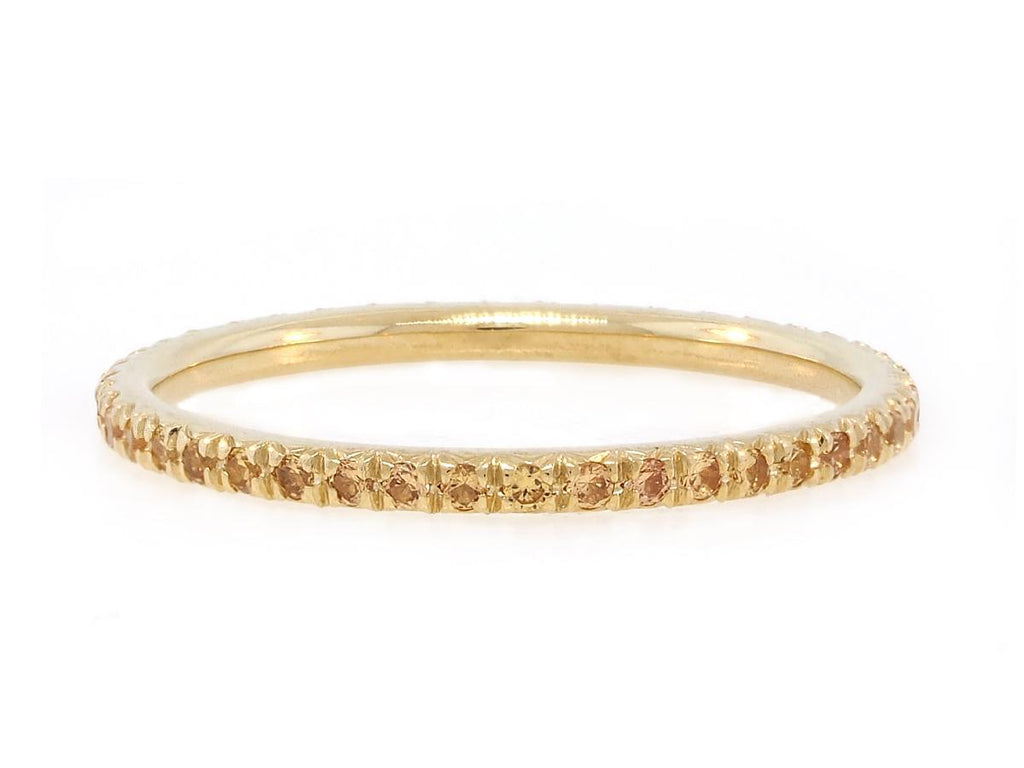 French Pave Yellow Sapphire Eternity Band