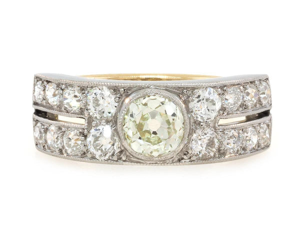 2.02ct Antique Wide Platinum and Diamond Band