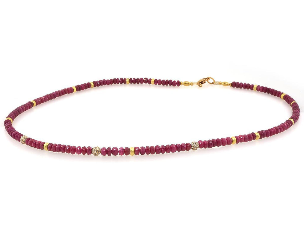 Ruby and Diamond Beaded Necklace