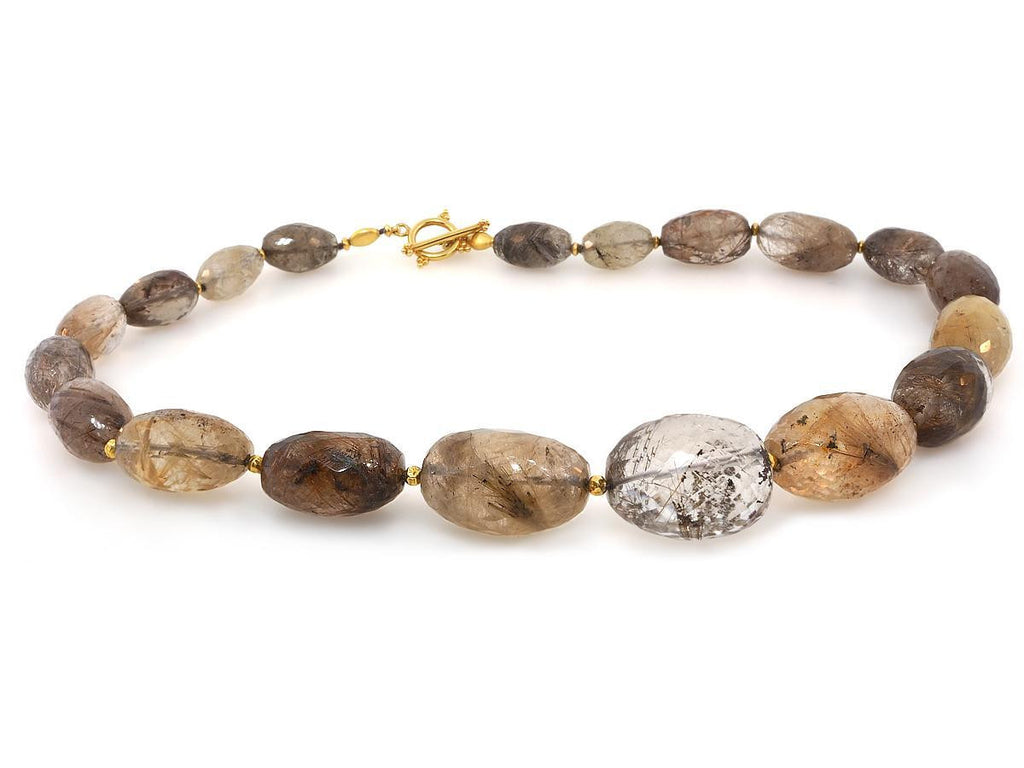 Rutilated Quartz and Gold Necklace