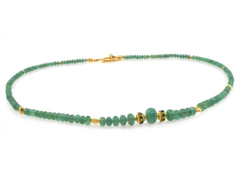Emerald and Gold Beaded Necklace