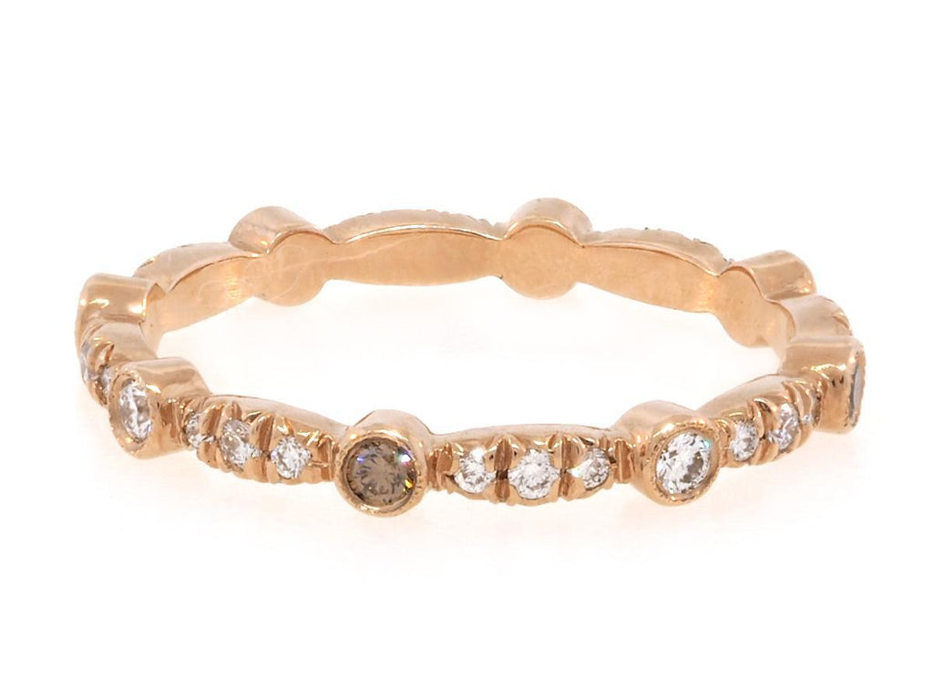 Rose Gold Champagne and Pave Diamond Eternity Band