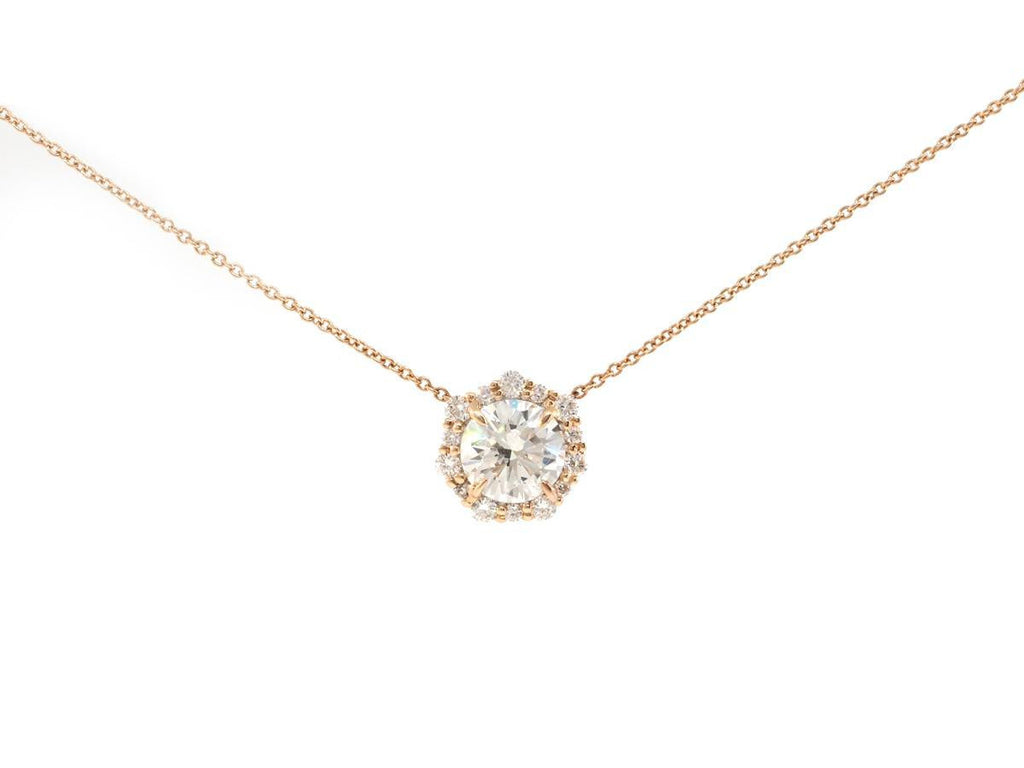Geometric Diamond Halo Rose Gold Necklace
