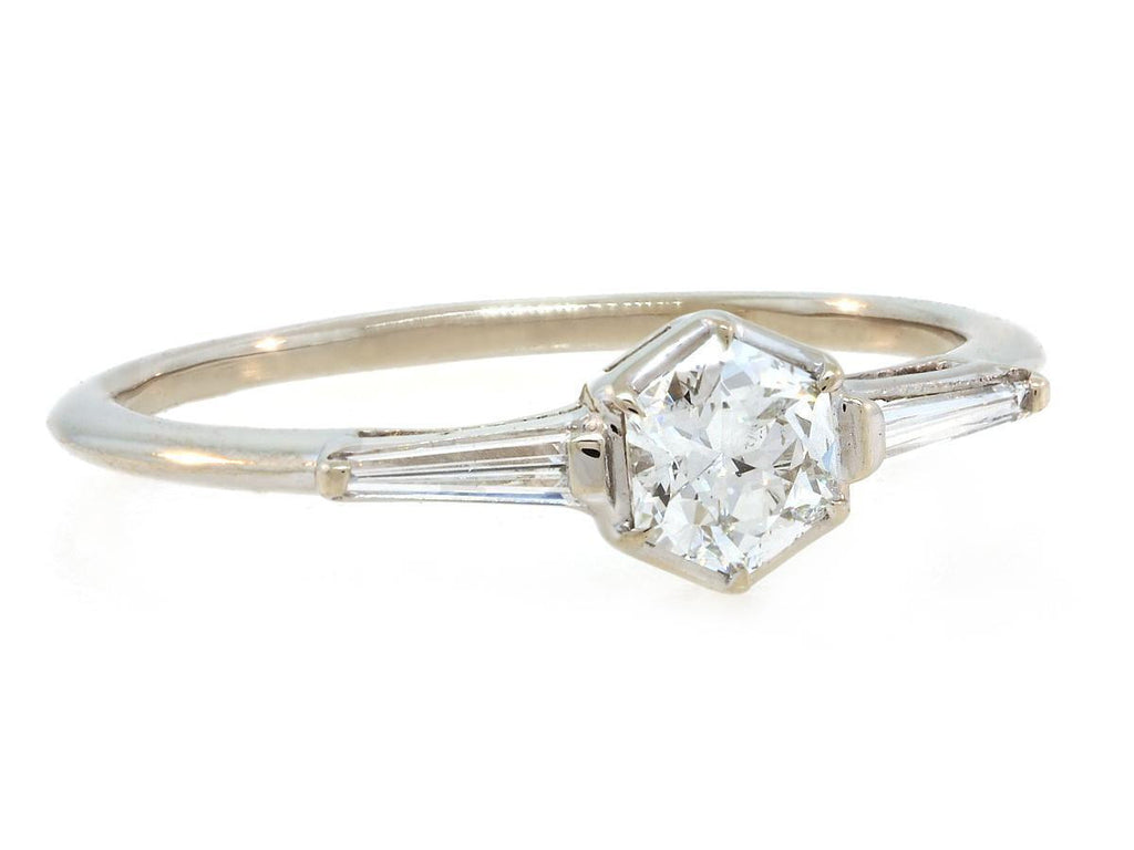 Delicate 3 Stone Hexagonal Diamond Ring