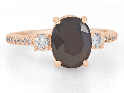 1.70ct Oval Black Diamond Dark Star Ring