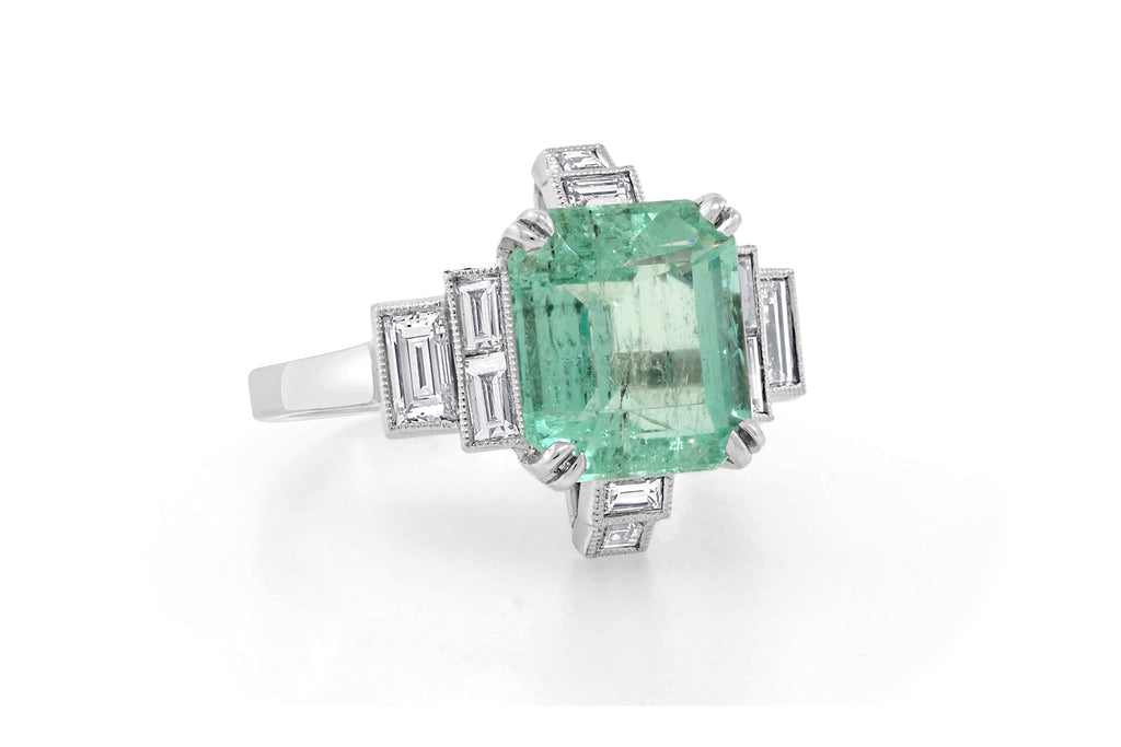 3.55ct Colombian Emerald Deco Ring