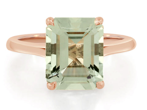 3.62ct Emerald Cut Green Aquamarine Ring