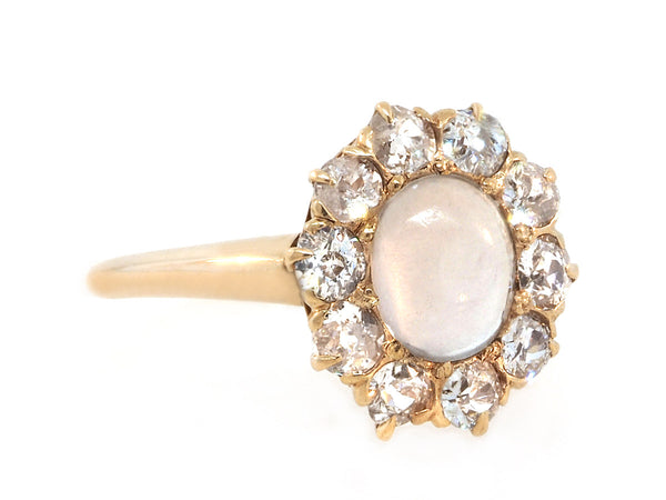 Antique Oval Moonstone and Diamond Cluster Ring