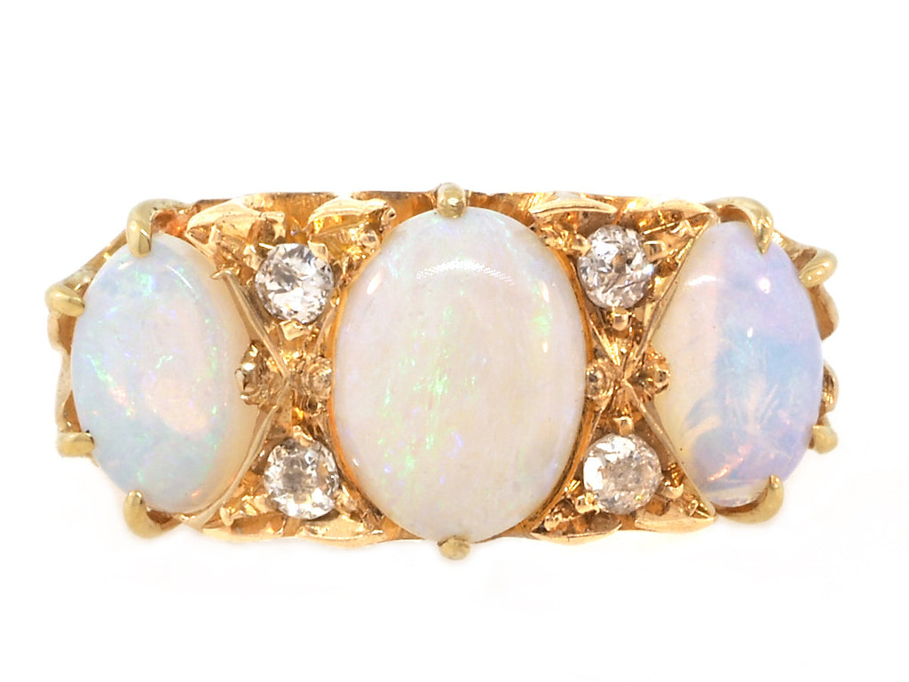 Antique 3 Stone Opal and Diamond Ring
