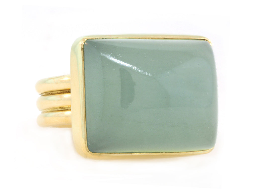 Rectangular Cabochon Aquamarine Ring