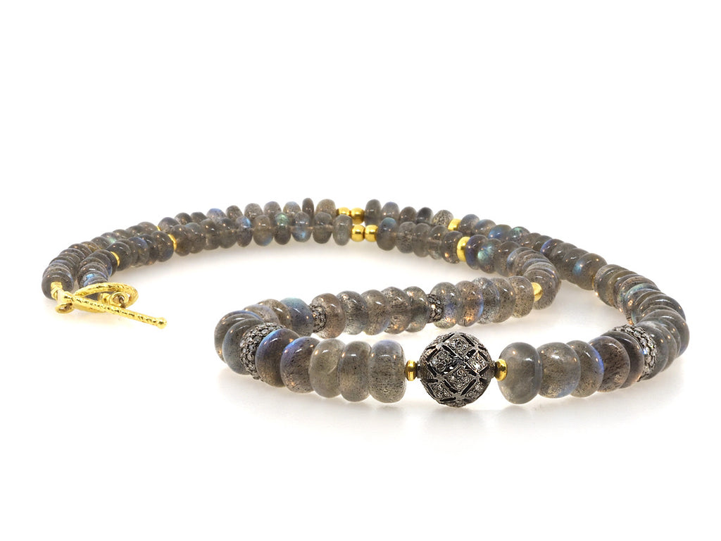 Labradorite and Diamond Gold Beaded Necklace