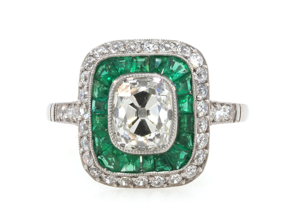 1.73ct Old Mine Cut Diamond and Emerald Ring