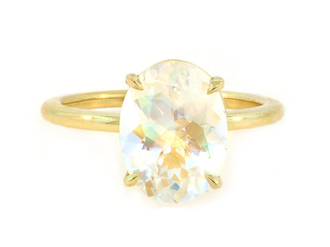 2.67ct Oval Rainbow Moonstone Aura Ring