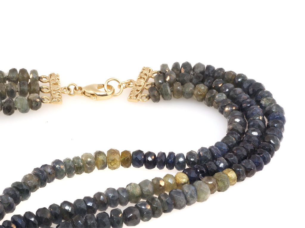 Triple Strand Ombré Sapphire Beaded Necklace