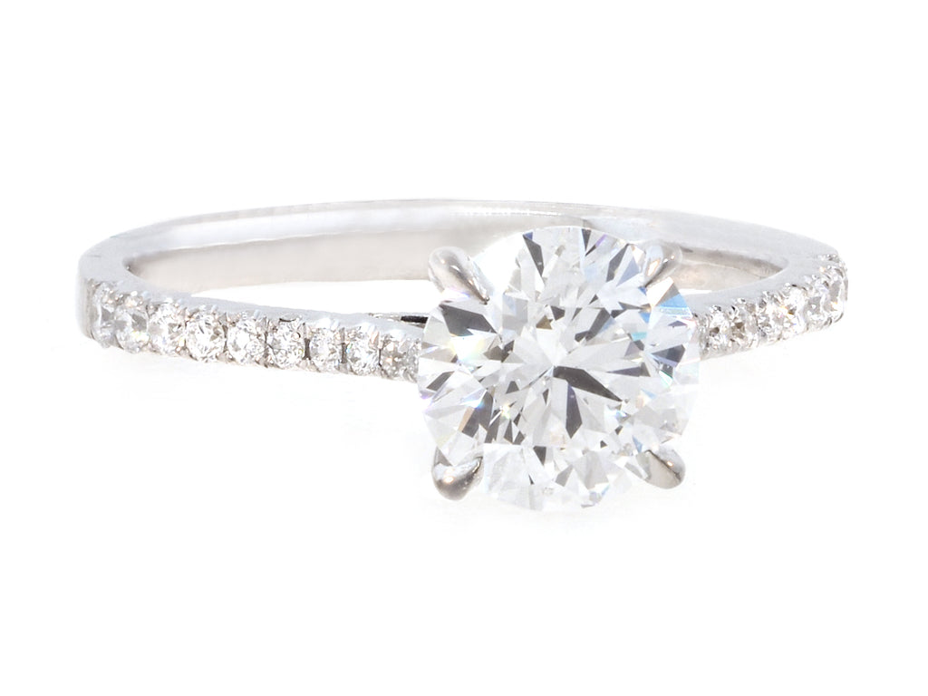 1.31cts DSI1 Round Brilliant Diamond Pave Ring
