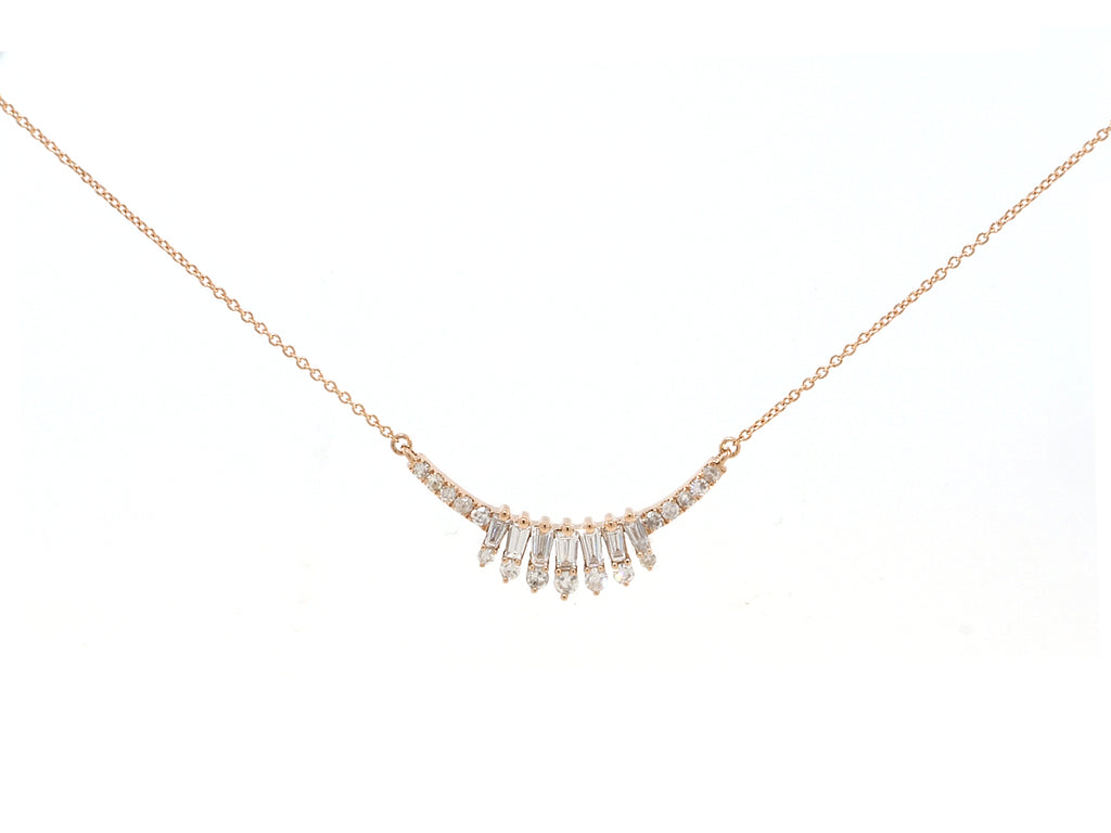 Fancy Baguette Curve Diamond Pendant