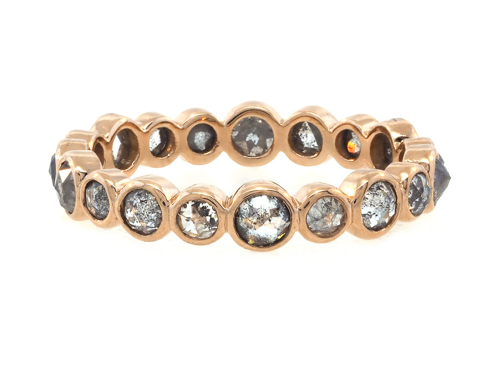 Rose Cut Grey Diamond Rose Gold Eternity Ring