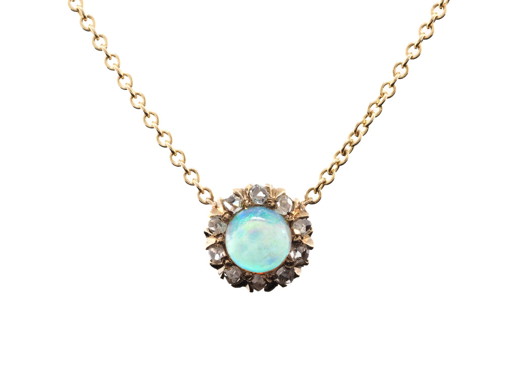Antique Opal & Diamond Pendant
