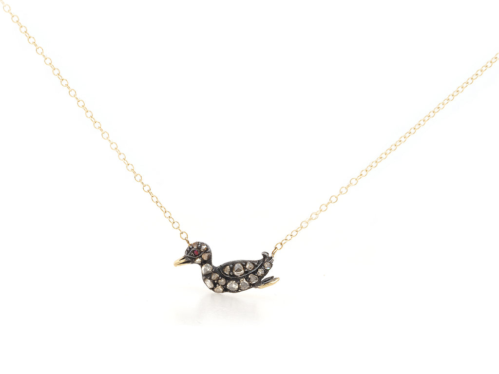 Antique Diamond Duck Necklace