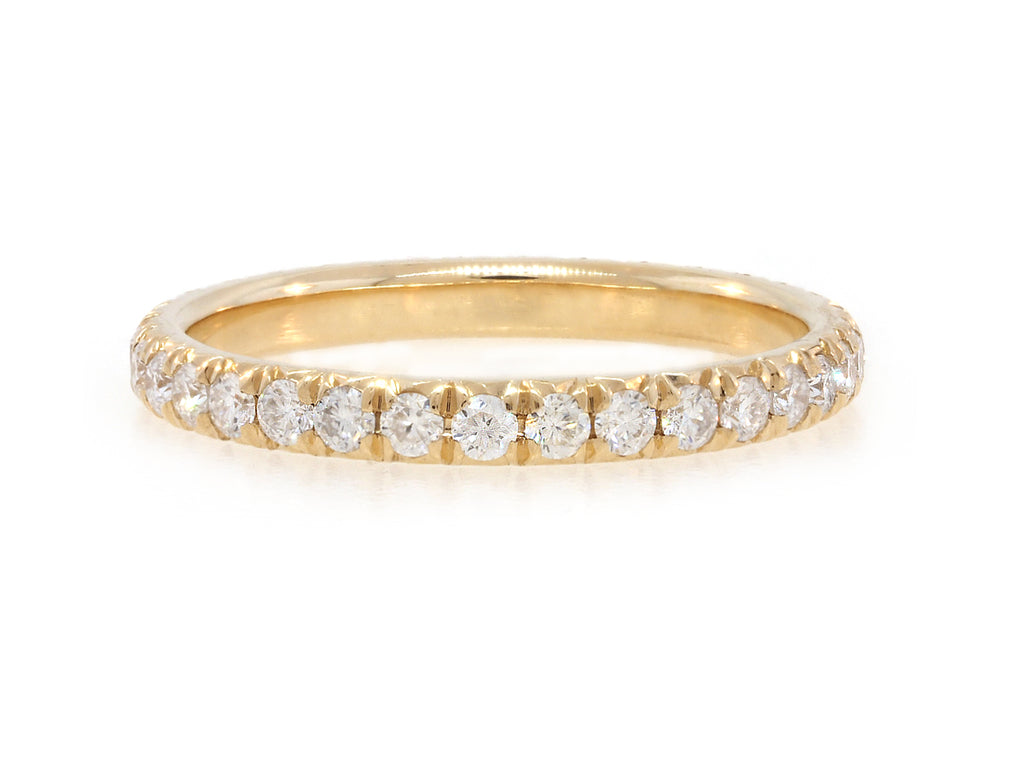 Moissanite Pave Eternity Gold Band