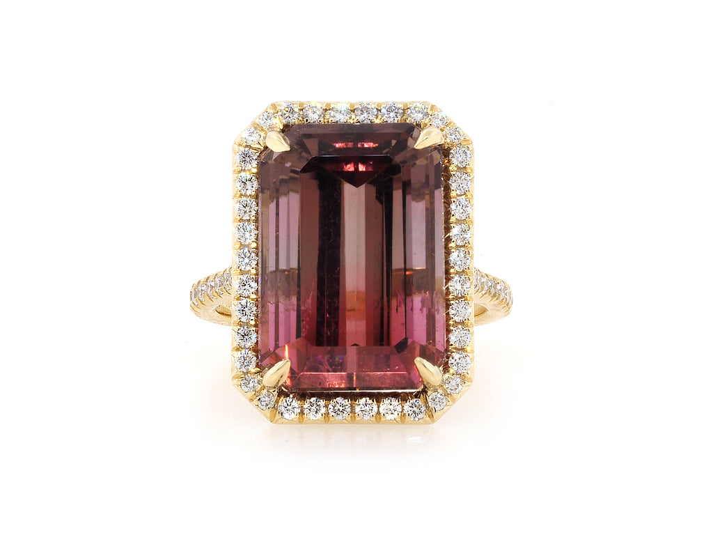 13.96ct Ombre Bordeaux Tourmaline Goddess Ring