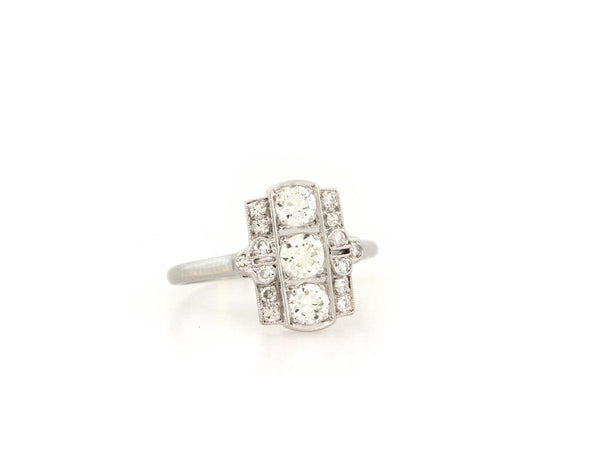 0.82ct Antique 3-Stone Art Deco Diamond Ring